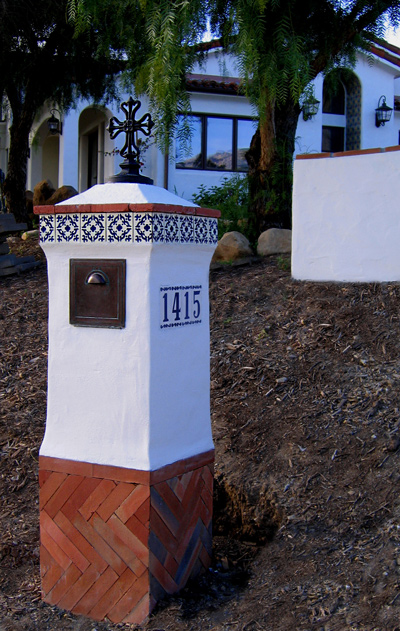 Spanish style mailbox designs for Santa Barbara, Montecito and Hope Ranch California Spanish Colonial Revival style homes