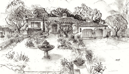 Spanish Cottage Hand Drawn Renderings for sale as fine art prints