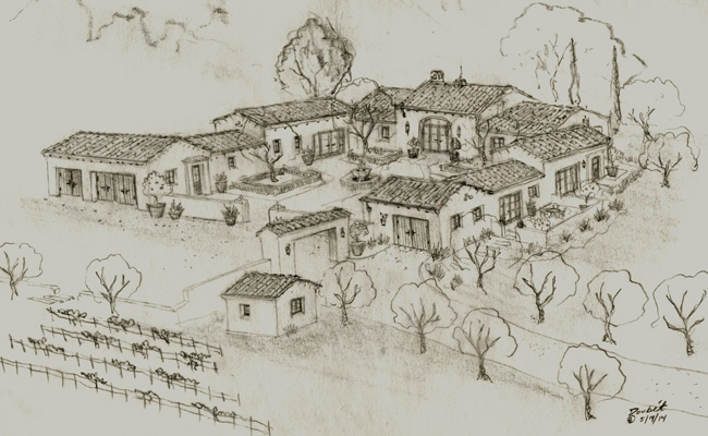 Spanish home designs, etchings, renderings and hand drawn sketches by Santa Barbara Designer Jeff Doubet
