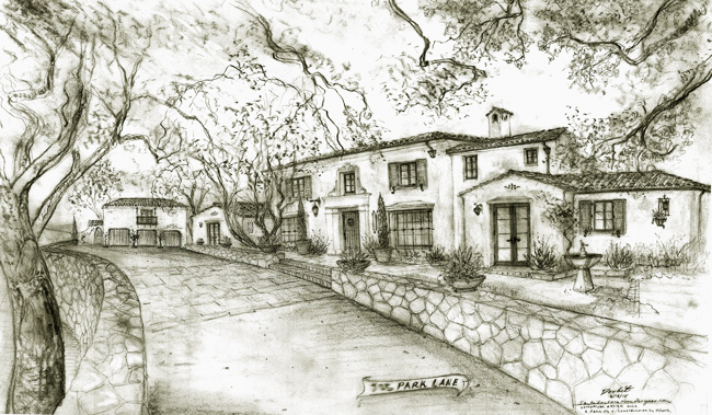 George Washington Smith Style Spanish Home design in Montecito California drawings, etchings, sketches