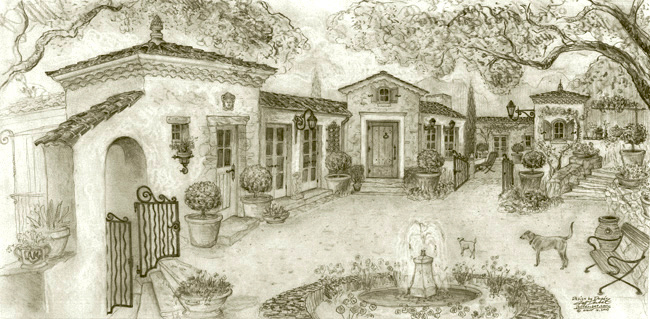 Old world european home design ideas drawings Montecito California