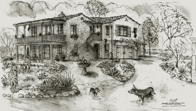 Stone house designs, renderings, sketches and drawings