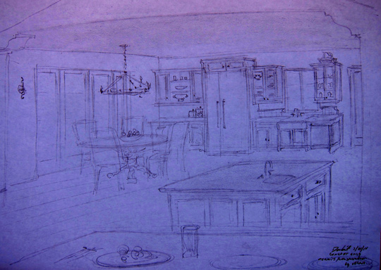 Montecito Kitchen designer sketches and planning
