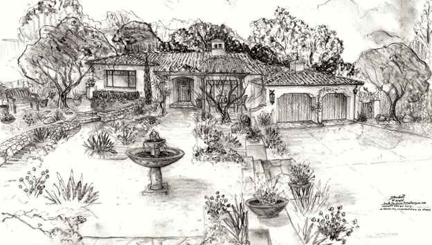 designing small Montecito homes and landscapes rendering