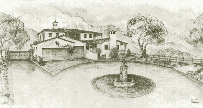Spanish Style home designs in Santa Barbara California drawings