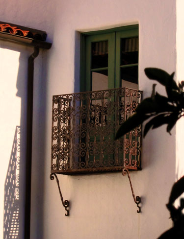 Spanish Colonial Revival wrought iron Juliette balcony Santa Barbara California architecture
