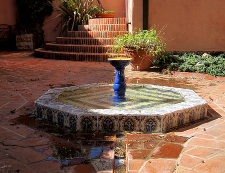Spanish Colonial Revival style fountain in Montecito, Santa Barbara California