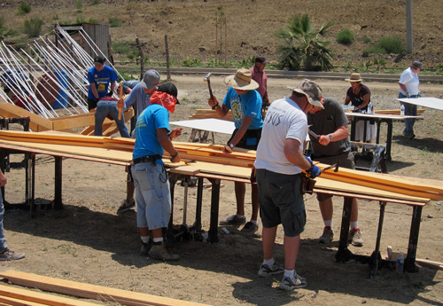Truss building Homes of Hope in Mexico