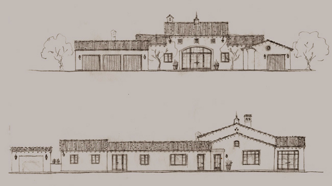 Spanish style home designs and mediterranean landscape for Santa barbara style house plans