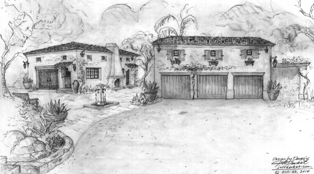 George Washington Smith style renderings by Santa Barbara Home Designer Jeff Doubet