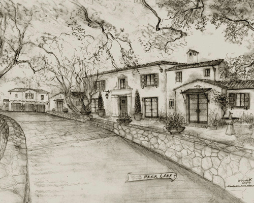 Montecito Classic architectural design in George Washington Smith style drawings, renderings, etchings