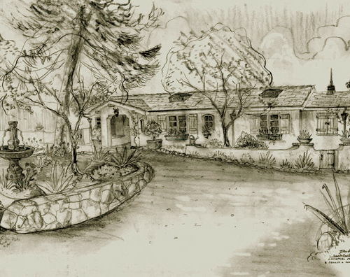Classic Santa Barbara style home design renderings, etchings, drawings in old world style