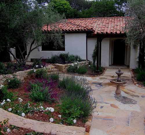 Small Spanish Style home and landscape design and designer info in Montecito Callifornia photos and info
