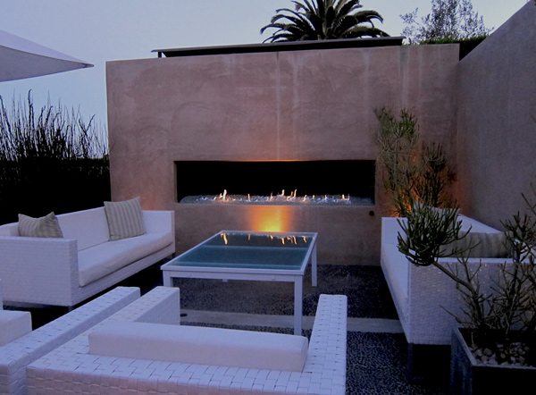 Outdoor room patio with modern fireplace Santa Barbara photo
