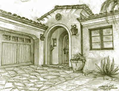 Spanish style house designs, sketches, renderings, ideas