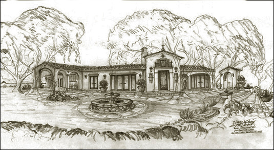 Spanish style home designs, renderings, sketches and drawings
