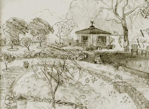 shed design sketches and landscape drawing in Santa Barbara California