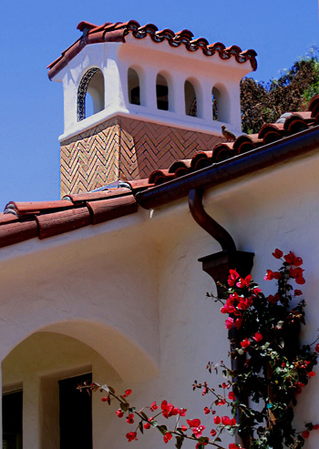 Spanish home chimney designs in California