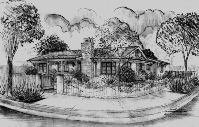 California Ranch Style home designs, renderings, sketches