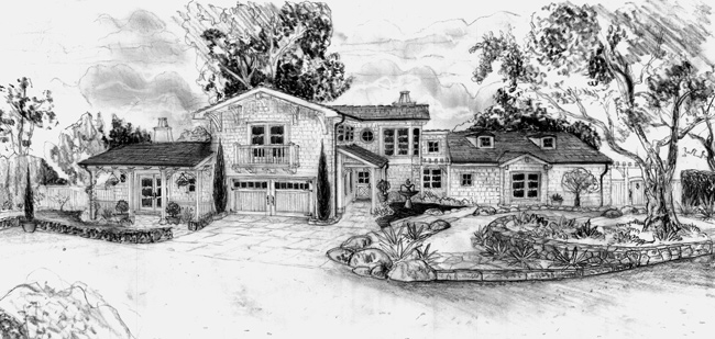 Cape Cod style home designs drawings and landscapes